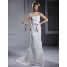 Classic Mermaid/ Trumpet Strapless Floor Length Satin Wedding Dress