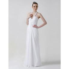Sexy Classic Sheath/ Column Halter Floor Length Chiffon Wedding Dress