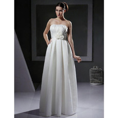 Vintage Elegant Empire Strapless Floor Length Satin Wedding Dress