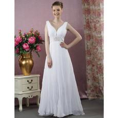 Classic A-Line V-Neck Floor Length Chiffon Wedding Dress
