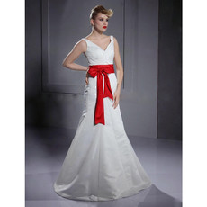 Classic A-Line V-Neck Floor Length Satin Dress for Winter Wedding