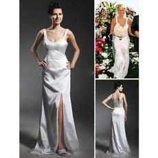 Designer Sheath/ Column Floor Length Satin Wedding Dress