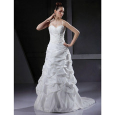 Designer A-Line Spaghetti Straps Court Train Satin Wedding Dress