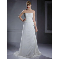 Designer Custom A-Line Strapless Court Train Chiffon Wedding Dress