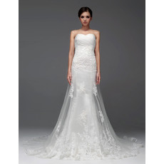 Modern Sheath/ Column Sweetheart Chapel Train Wedding Dress