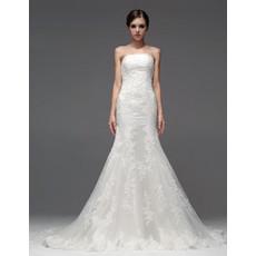 Classic Elegant Mermaid/ Trumpet Strapless Chapel Train Wedding Dress