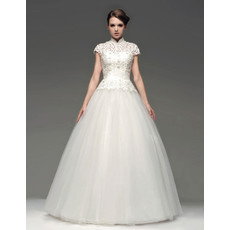 Custom Ball Gown Floor Length Organza Lace Wedding Dress