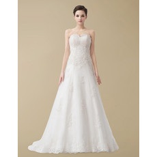 Classic Designer A-Line Sweetheart Court Train Wedding Dress