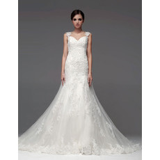 Designer A-Line Sweetheart Chapel Train Wedding Dress with Straps