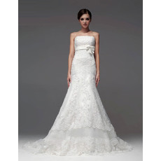 Elegant Mermaid/ Trumpet Strapless Chapel Train Wedding Dress