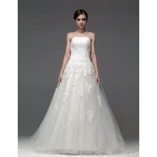 Classic Elegant A-Line Strapless Chapel Train Wedding Dress