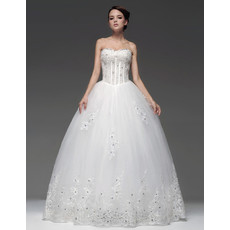 Affordable Ball Gown Sweetheart Floor Length Wedding Dress