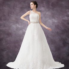 Vintage A-Line One Shoulder Chapel Train Wedding Dress