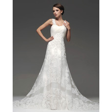 Designer Modern A-Line Straps Chapel Train Organza Wedding Dress