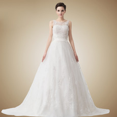 Affordable Vintage A-Line Court Train Organza Wedding Dress
