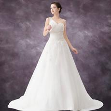 Elegant A-Line One Shoulder Court Train Organza Wedding Dress