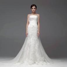 Classic Top Mermaid/ Trumpet Strapless Chapel Train Organza Wedding Dress