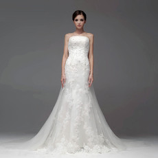Designer Top Mermaid/ Trumpet Strapless Chapel Train Organza Wedding Dress