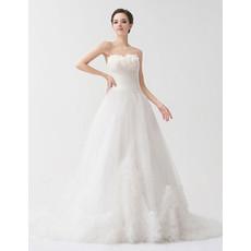 Chic A-Line Sweetheart Court Train Organza Wedding Dress