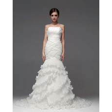 Luxury Mermaid/ Trumpet Strapless Court Train Tiered Wedding Dress