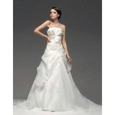 Classic Modern A-Line Strapless Court Train Wedding Dress