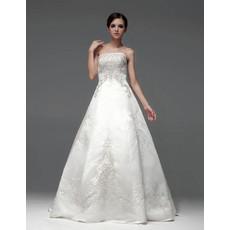 Inexpensive A-Line Strapless Sleeveless Floor Length Wedding Dress