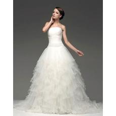 Chic Modern A-Line Strapless Chapel Train Tiered Wedding Dress