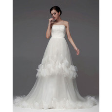 Classic A-Line Strapless Chapel Train Wedding Dress