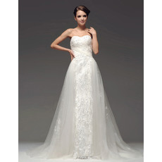 Classic Designer A-Line Sweetheart Chapel Train Wedding Dress