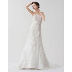 Affordable Elegant A-Line Strapless Court Train Wedding Dress