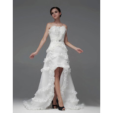 Sexy A-Line Strapless High-Low Asymmetric Wedding Dress