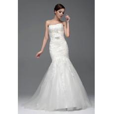 Classic Top Mermaid/ Trumpet Strapless Chapel Train Wedding Dress