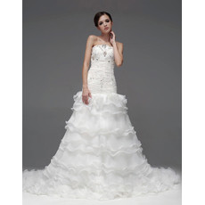 Gorgeous A-Line Strapless Chapel Train Tiered Wedding Dress for Bride