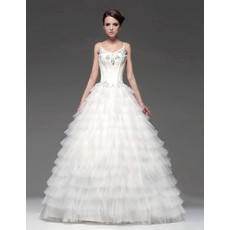 Designer Gorgeous A-Line Floor Length Tiered Wedding Dress with Spaghetti Straps