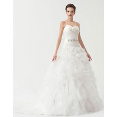 Inexpensive Gorgeous Ball Gown Sweetheart Court Train Wedding Dress