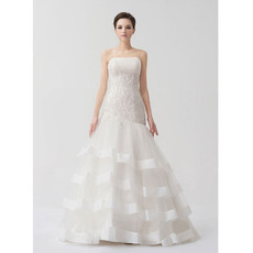 Chic Modern Mermaid/ Trumpet Strapless Brush/ Sweep Train Wedding Dress