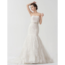 Classic Strapless Court Train Mermaid/ Trumpet Wedding Dress