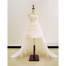 Two in One A-Line Strapless Short Wedding Dress with Detachable Train