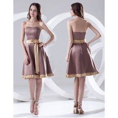 A-Line Strapless Short Satin Bridesmaid Dress for Maid of honour