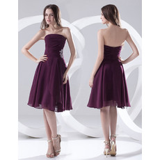 Custom A-Line Strapless Knee Length Chiffon Bridesmaid Dress for Maid of honour