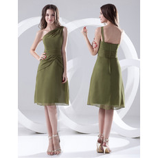Affordable A-Line One Shoulder Knee Length Chiffon Bridesmaid Dress for Maid of honour