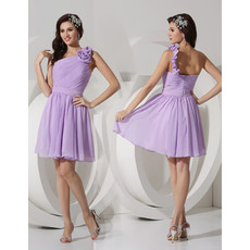Sexy A-Line One Shoulder Short/ Mini Chiffon Bridesmaid Dress for Maid of honour