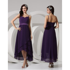 Spaghetti Straps Asymmetric Chiffon Bridesmaid Dress for Maid of honour