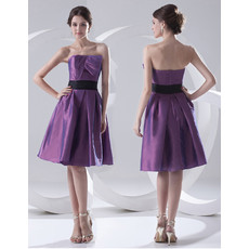 Custom Simple A-Line Strapless Knee Length Satin Bridesmaid Dress for Maid of honour