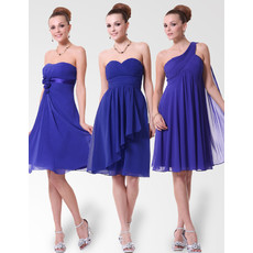 Inexpensive Empire Knee Length Chiffon Bridesmaid Dress for Summer