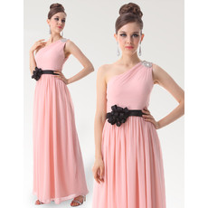 Discount One Shoulder Long Chiffon Bridesmaid Dress for Maid of honour