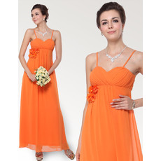 Custom Empire Spaghetti Straps Ankle Length Chiffon Bridesmaid Dress