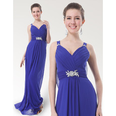 Inexpensive Eleagnt Straps Floor Length Chiffon Bridesmaid Dress