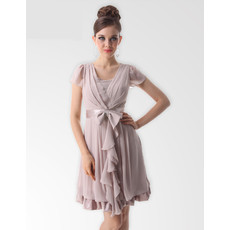 Elegant V-Neck Short Chiffon Bridesmaid Dress for Maid of honour