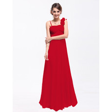 Discount Custom Empire Asymmetric Long Chiffon Bridesmaid Dress